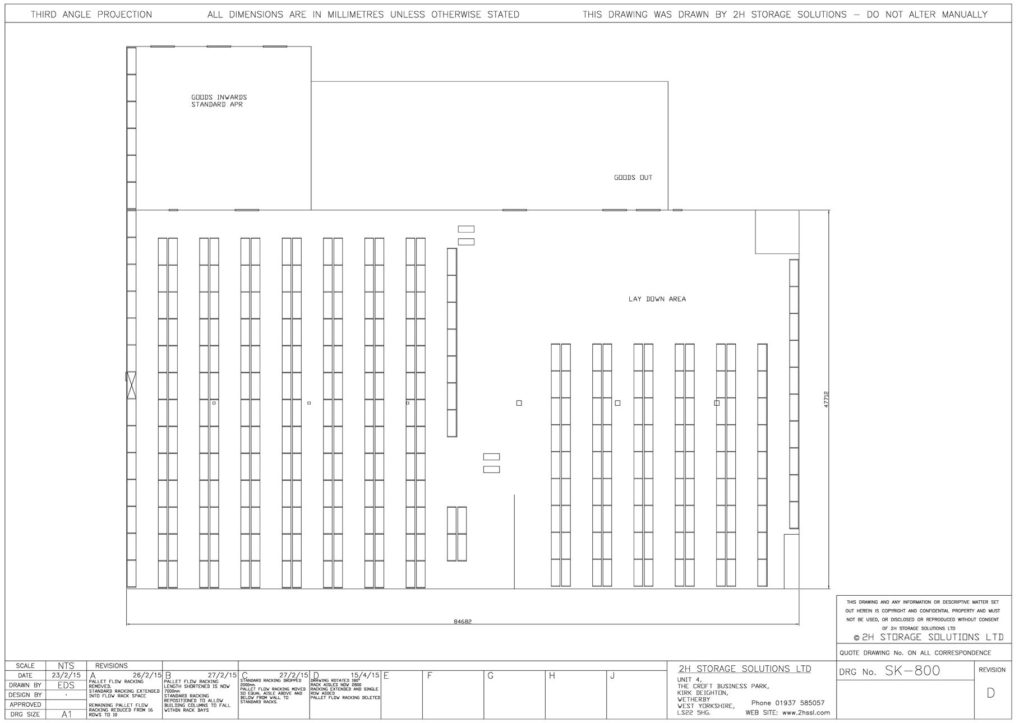 sk 800 pallet racking CAD drawing