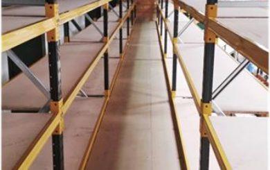 upper floor Shelving supported two tier storage platform